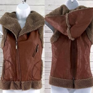 miilla brown faux leather shearling hooded vest/S